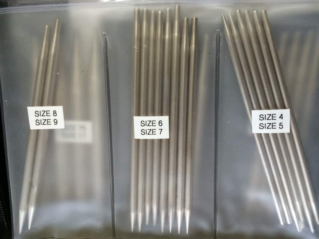 There's usually two sizes of needle tips per section.  In the mid-range of sizes (US 4-9), I have at least two tips in each size.  I only use larger sizes infrequently, so only have one pair of tips per size from US size 10 through US size 17.