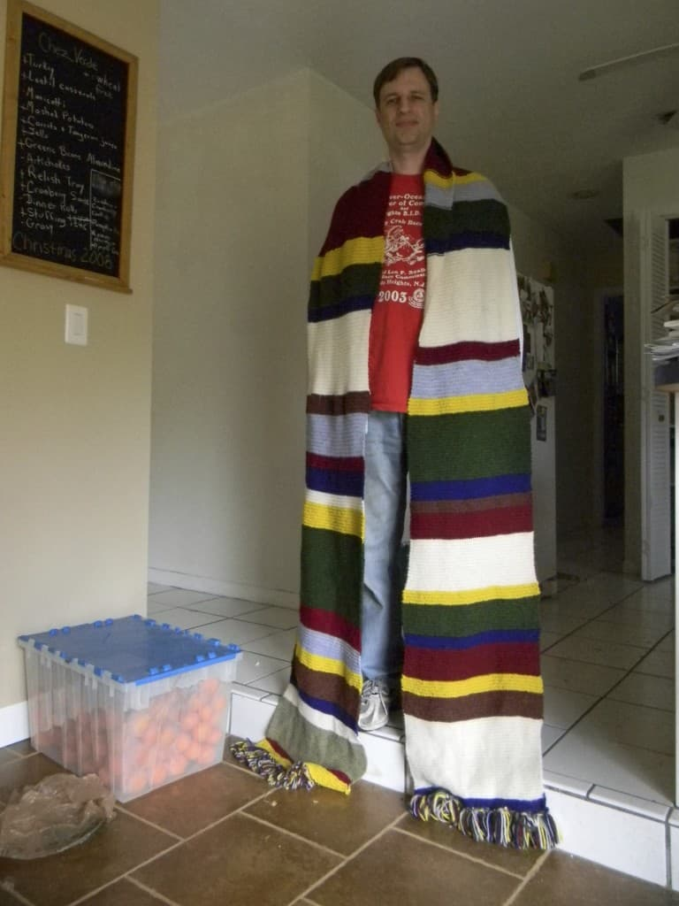 I knit this scarf for my husband back in 2010.  I