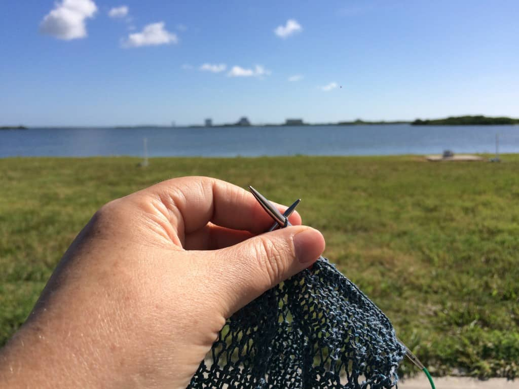 Knitting while waiting for the rocket launch.
