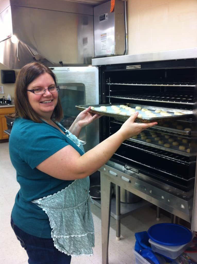 Here I am putting the last batch in the oven!