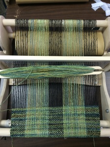 "Weaving in Progress on a 15"" Cricket Loom"