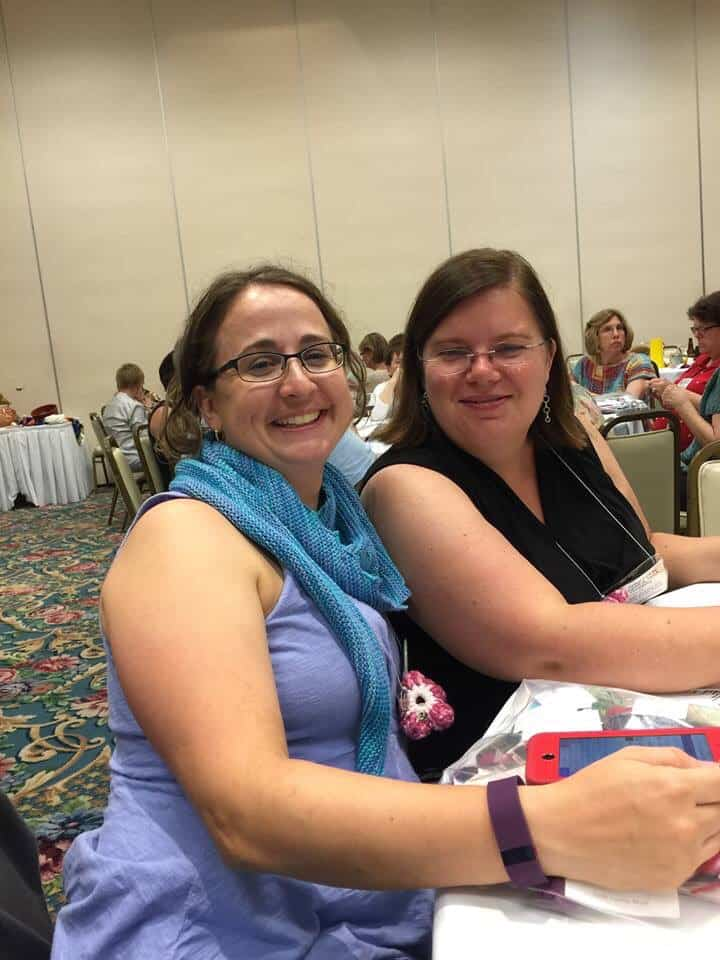 Heather and I at the Yarn Tasting.  Photo by Emma Anderson.